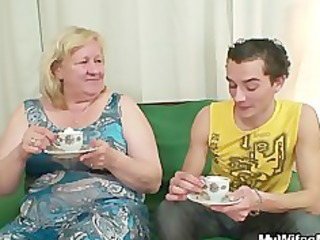 biggest granny is group-fucked by her son on law