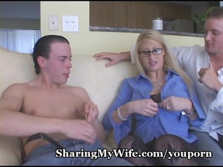 busty golden-haired mommy shared with buddy