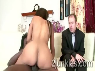 Big booty brunette MILF mounts black rod to help