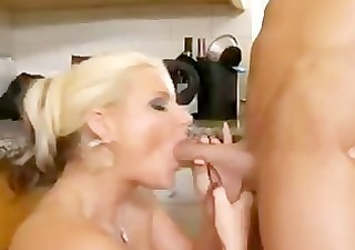 blonde cougar in the kitchen