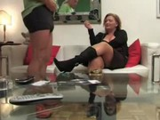 German mature woman jerks off younger guy