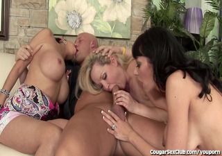 8 sexy cougar strumpets share large dick