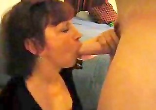 hawt cougar talks younger guy into getting a