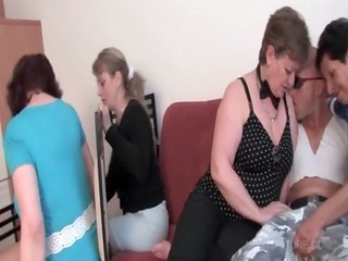 Turned on slutty matures fight over cock in