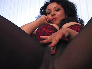 wicked dark haired mother i in black pantyhose