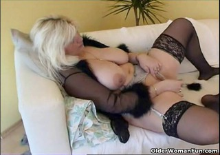 overweight housewife in nylons plays with new sex