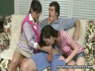 thoughtful mommy teaches daughter to fuck