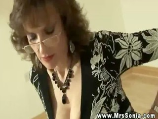 hot breasty mature makes youthful stud foot