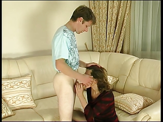 aged brunette hair in nylons and her boytoy