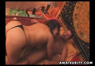 bulky non-professional oriental wife sucks and