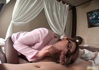 pretty oriental milf takes off his panties